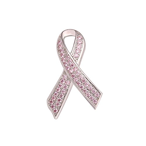 U7 Rosa Schleife Brosche Pin Schleifen Form Broschennadel platiniert Pink Zirkonia Brustkrebs Awareness Anstecknadel für Damen