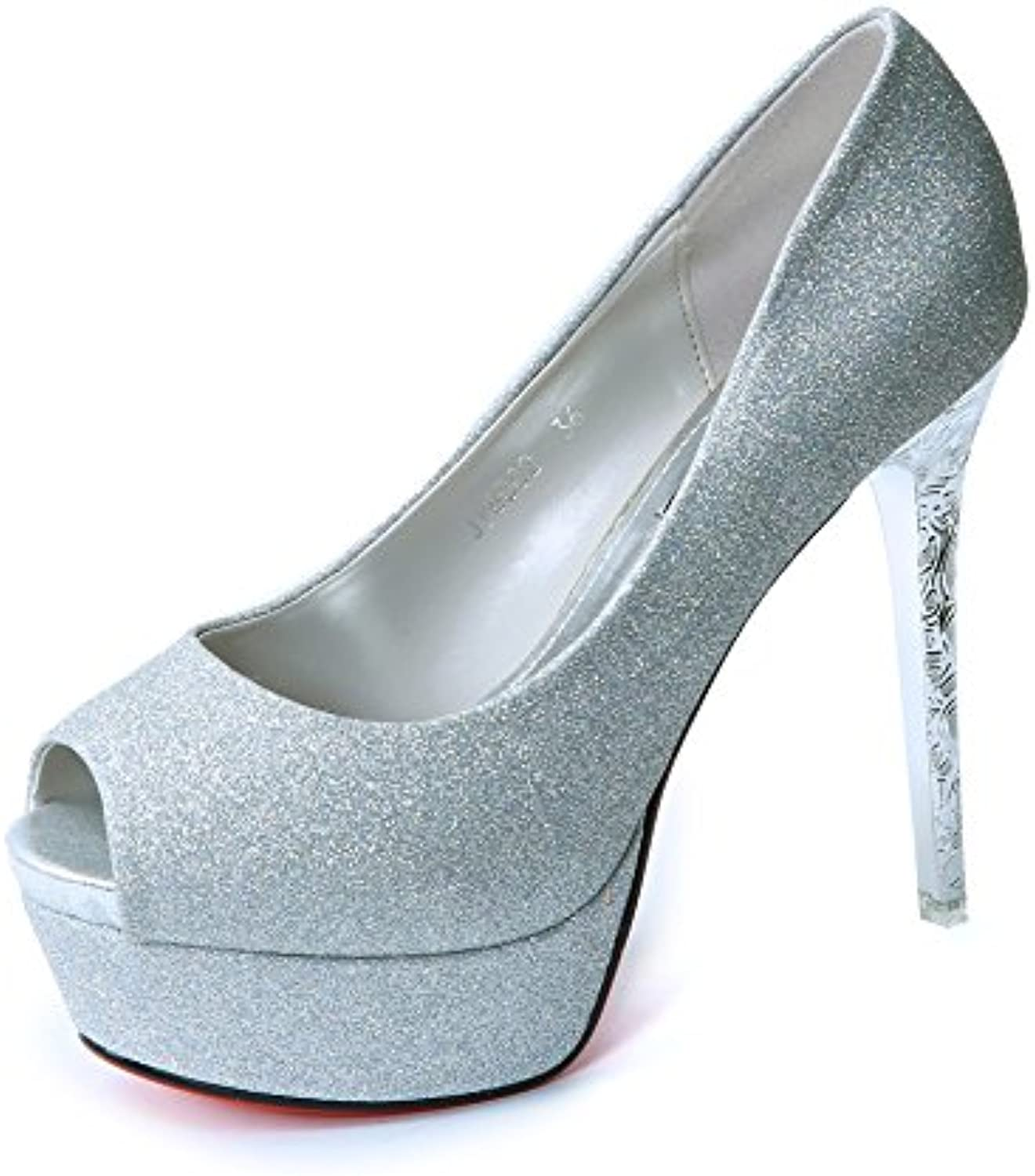 LGK&FA Sequins Super High Heels Women's Shoes Fish Mouths Waterproof Tables and Fine Shoes. Thirty-Nine Silvery