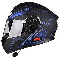 Casco de moto Con bluetooth, Modular Abatibles Viseras duales Adultos Casco de seguridad Interior desmontable
