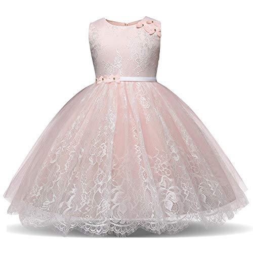 Tonsee Prinzessin Kleider für Kinder Blume Stickerei Partykleid Hochzeit Minikleid Ballkleid Abendkleid Ärmelloses Festlich Kostüme Elegante Kinderkleidung mit Gürtel Kleide Jugendweihe Mädchen (Kostüme Für 11-jährige Mädchen)