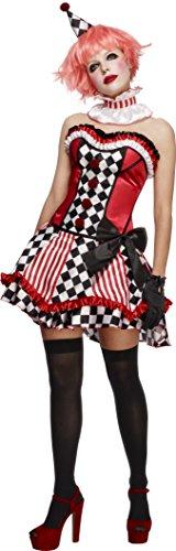 Fever, Damen Süßer Clown Kostüm, Korsett, Rock mit Unterrock, Kragen und Mini Hut, Größe: S, (Schuhe Clown Kostüm Halloween)