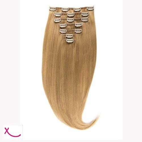 Extiff - Extension cheveux naturel clip lisse - 50cm 100gr - qualité Rémy Hair (24 - Blond Sable) - 7 bandes au total 15 clips