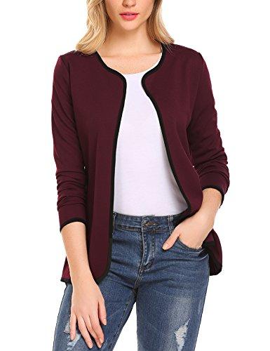 Parabler Damen Herbst Strickjacke Cardigan Blazer Jacke Mantel Pullover Tops (Weinrot, EU 38/ M)