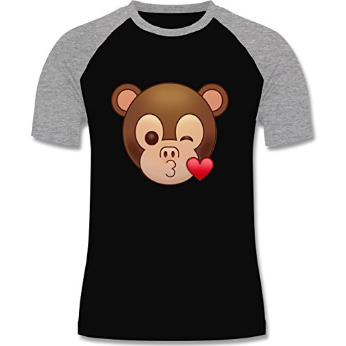 Comic Shirts - Küsschen Äffchen Emoji - zweifarbiges Baseballshirt für Männer Schwarz/Grau Meliert