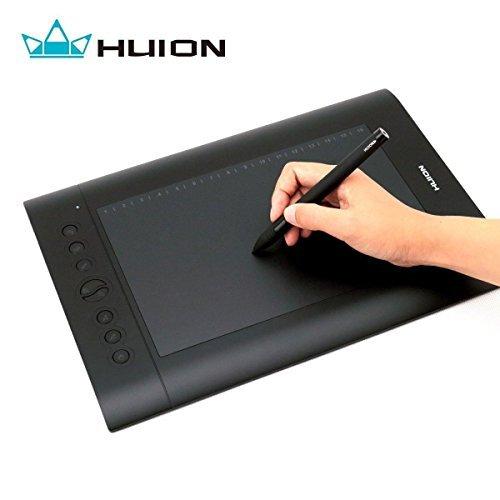 Huion H610 Pro Tablette Graphique avec Stylet Rechargeable, pour Dessin et Créations Professionnelles, 25,4 cm x 16cm (10'' x 6.25''), Noir