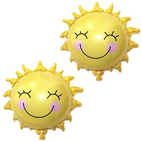 MAXGOODS 2 Stk Lächeln Sonne Ballons Baby Dusche Luft Ballone Helium Folien Emoji Smiley Gesicht Gedruckt für Hochzeit Party