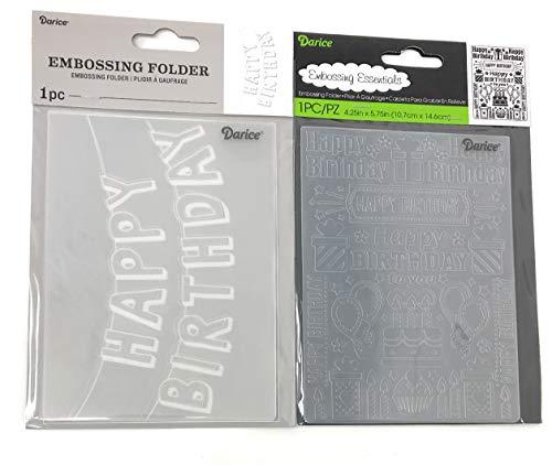 Darice Geburtstags-Prägeschablone, Banner und Geburtstagskollage, je 10,8 x 14,5 cm, 2 Stück - Folder Wort Embossing