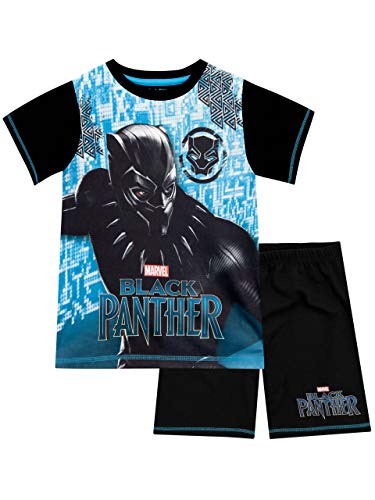 Marvel Black Panther Jungen Schlafanzug Schwarz 116 - Kurze Pyjamas Pjs