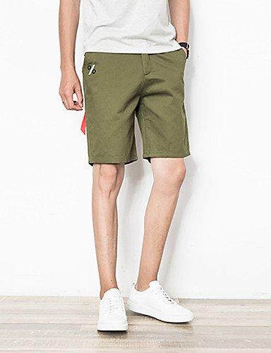Da uomo A vita medio-alta Attivo Media elasticità Pantaloncini Pantaloni,Taglia piccola Tinta unita army green