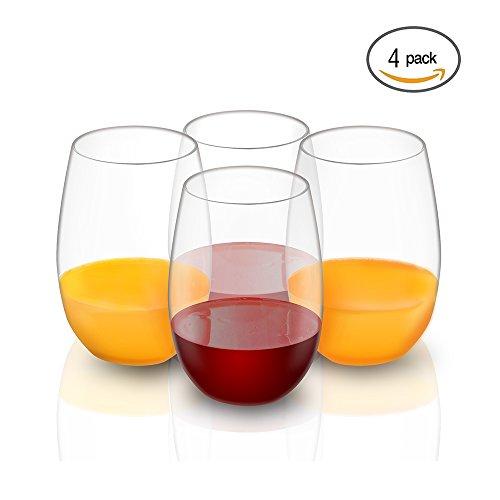 4PCS Unzerbrechlich Bruchsicher Stemless Wein Kunststoff Gläser, Tritan Kunststoff Wein Gläser, BPA frei, Wiederverwendbare Plastikbecher für Parteien, Hochzeiten, Garten - Crystal Clear - 16oz