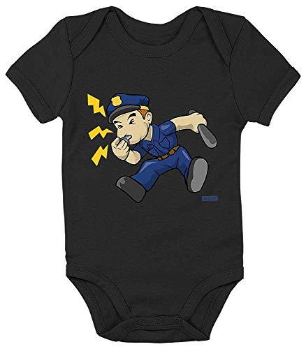 Cop Baby Kostüm - HARIZ Baby Body Kurzarm Polizist Trillerpfeife Laut Polizei Cops Inkl. Geschenk Karte Pinguin Schwarz 18-24 Monate