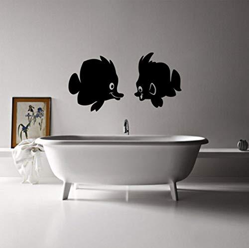 tcmsh Vinyl Wandtattoos Kuss Fisch Badezimmer Badewanne Wandaufkleber Steuern Dekor WC Aufkleber DIY Abnehmbare Kunstwandmalereien Jg2360 55X30 cm