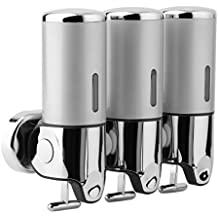 TataYang Dispensador de jabón Trio Chrome, 3 botellas, 500 ml, dispensador de jabón