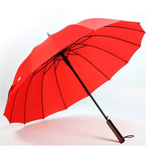 WYF Neuer Massivholzgriff für Männer und Frauen 16 Knochendach/Golf-Business-Regenschirm Automatik-Regenschirm mit langem Griff - Massivholz-Griff/gebogener Griff Zwei Modelle -39,3 Zoll-100cm