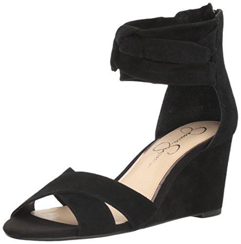 Jessica Simpson Women's Cyrena Wedge Sandal, Black, 7 Medium US