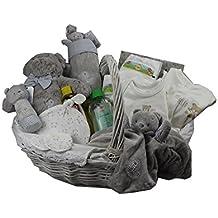 DonRegaloWeb - Canastilla - Cesta de regalo para recién nacido (unisex) con ropa, set de baño, gasa, peluche y álbum de recuerdos en tonos neutros