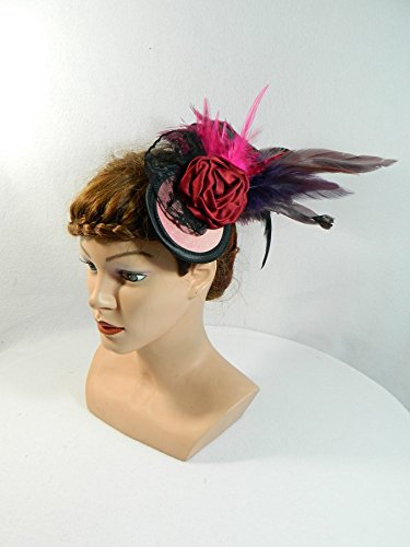 (Fascinator Bordeaux rot lila Beerentöne Feder Kopfschmuck Tribal Fusion 20er Gatsby Party)