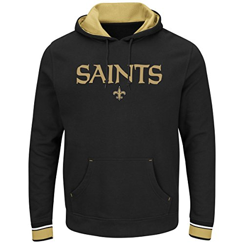 """New Orleans Saints Majestic NFL """"Championship"""" Men's Pullover Hooded SweatShirt Camicia"""