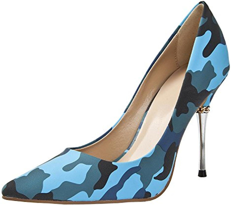 050871541fb MINITOO Women s MA1185 Gold Chunky Chunky Chunky High Heel Slip On Blue  Leopard Evening Pumps Shoes 4 UK B01420L48A Parent dfde0c