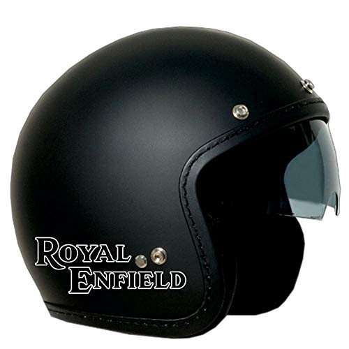CASCO JET OLD ONE NERO SATINATO VISIERA FUME' LOGO ROYAL ENFIELD BIANCO L