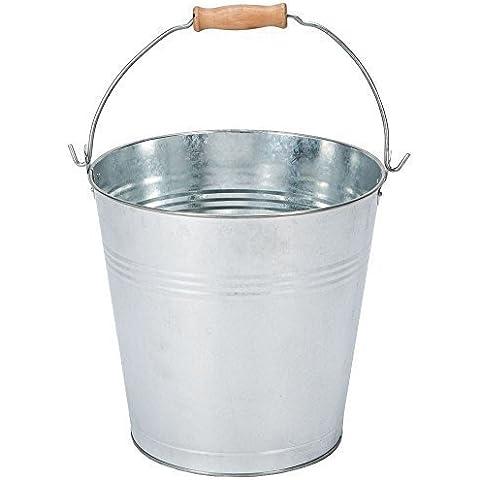 Discount® Home-Secchio in metallo galvanizzato, 10 l, in legno di frassino per giardino per carbone, (Pr Metallo)
