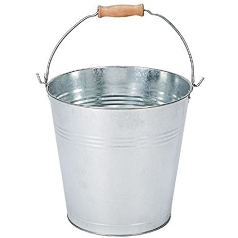 Home Discount® 9 Litre Bucket Galvanised Metal Garden Ash Coal