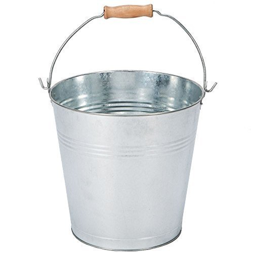 home-discountr-9-litre-bucket-galvanised-metal-garden-ash-coal-cleaning-wood-handle