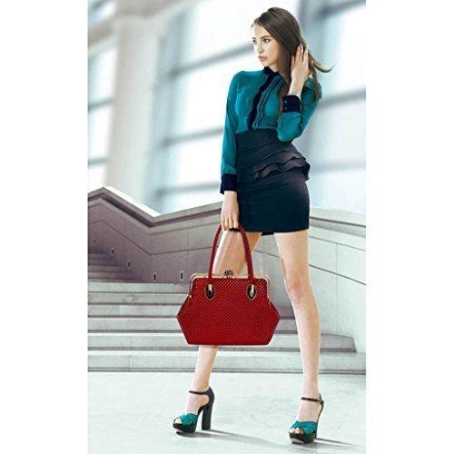 TrendStar Damen Konstrukteur Taschen Damen neu Berühmtheit Stil Kunstleder Schulranzen Handtaschen Rot