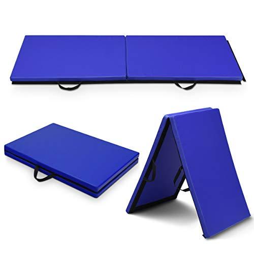 GOPLUS Weichbodenmatte Turnmatte Yogamatte Gymnastikmatte Sportmatte Fitnessmatte klappbar PU Farbwahl 180x60x4cm (blau)