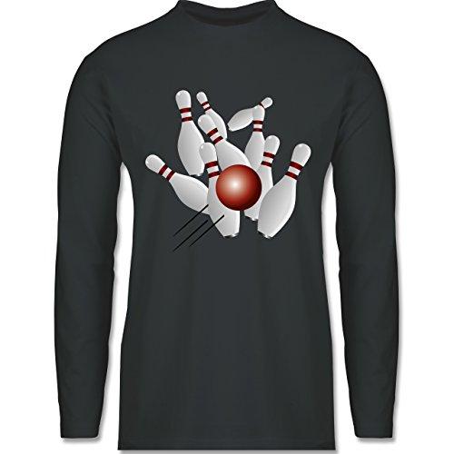 Shirtracer Bowling & Kegeln - Kegeln Alle 9 Kegeln Kugel - Herren Langarmshirt Dunkelgrau