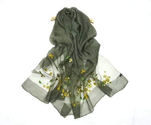 Seide Und Wolle Mischen Stickerei Schal Bestickt Seidenschal,Green -