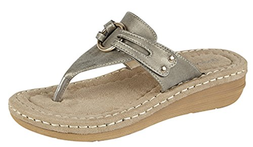 Damen Zehentrenner Maultier Komfort gepolstert Sandalen Size 3 - 8 Zinnfarben