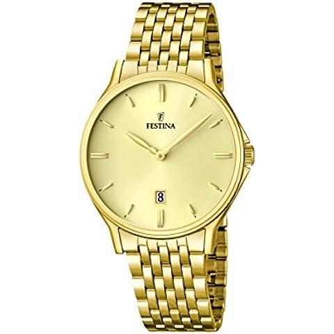 Festina F16746/2 - Reloj de pulsera hombre, acero inoxidable chapado, color dorado