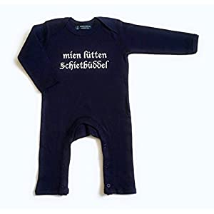 "Babystrampler""mien lütten Schietbüddel"" – fair – dunkelblau – maritimer Strampler von ebbeundflut"