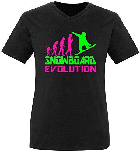 EZYshirt® Snowboard Evolution Herren V-Neck T-Shirt Schwarz/Pink/Neongr