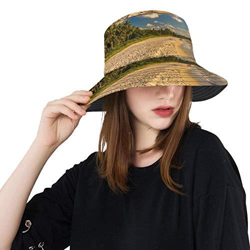 Enhusk Florida Us Beach Ocean Landschaft Neue Sommer Unisex Baumwolle Mode Angeln Sun Bucket Hats für Kid Teens Frauen und Männer mit anpassen Top Packable Fisherman Cap für Reisen im Freien -