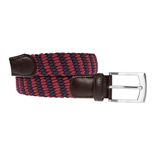 LUUK LIFESTYLE Cinturón trenzado, cinturón elástico, cinturón de tela con cuero auténtico, varios colores, cinturones para hombres y mujeres, caja de regalo, 105 cm