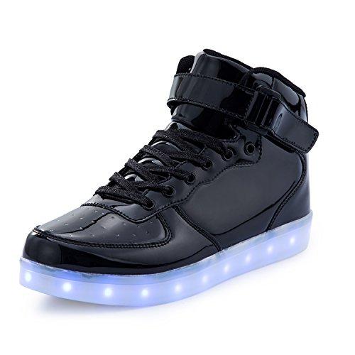 FLARUT 7 Farbe USB Aufladen LED Leuchtend Leuchtschuhe Blinkschuhe Sport Schuhe für Jungen Mädchen Kinder(42 EU,Schwarz)