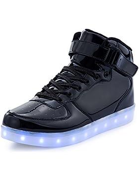 FLARUT Unisex Niños Zapatillas Casuales de Cordones con 7 Colores USB Recarga Hip Tops Led Sneakers Zapatos Luminiosos