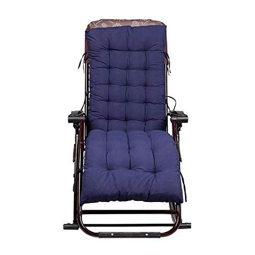 Puff Schaukelstuhl (CHUNXU Solides Kissen Universal Liegestuhl-Matte Dicke Rattan Stuhlkissen Sitzkissen Kissen für Stuhl Tatami Matte Bodenmatte, Baumwolle, Marineblau, Einheitsgröße)