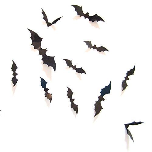 Ecloud Shop® 3D Schwarz Fledermäuse DIY Wand-Aufkleber Tapete Home Decoration Halloween (Halloween Geräte)