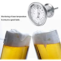Termómetro de Cerveza de Acero Inoxidable 304 0~220 ° F Medidor de Cerveza casera de medición de Temperatura (Diámetro: 8.2 cm, Altura: 12.2 cm)
