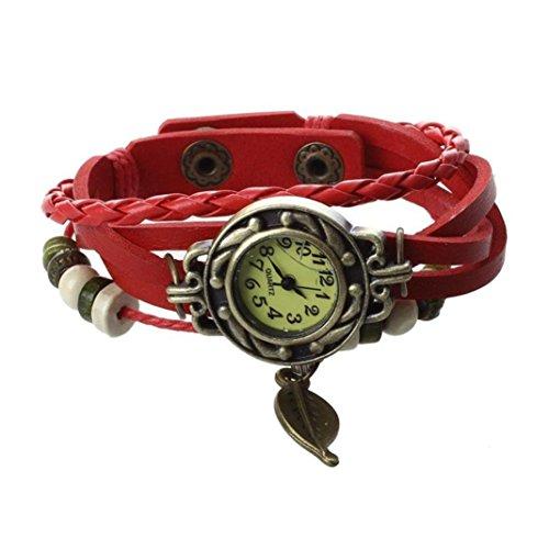 Brown Retro Weave Wrap Lady Bead Blatt baumeln Chenang Armreif Quarz-Armbanduhr Vintage Leaf Anhänger Gewickelt Armband Tisch Damen Uhr Geschenk Set Kristall beschmückt