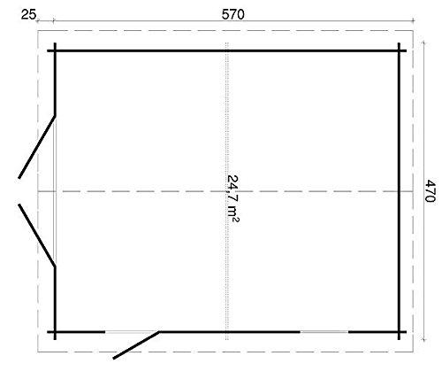 Blockhaus Garage B 40 Gartenhaus 470 x 570 cm – 40 mm Carport Holzhaus Holzhütte