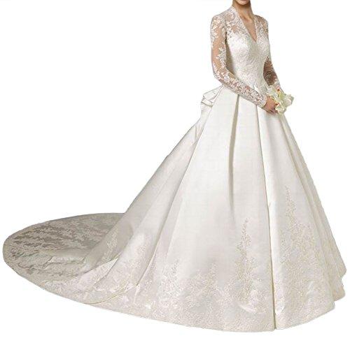 Milano Bride Elegant Langarm Spitze V-Ausschnitt Hochzeitskleider Brautkleider Edel Brautmode mit Schleppe Elfenbein