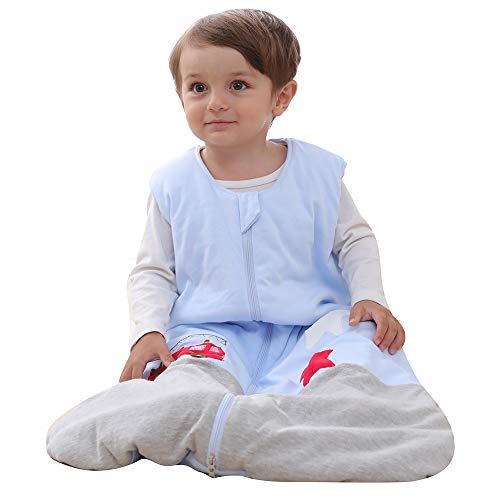 Schlafsack baby Winter Baumwolle Grau und Blau Junge Mädchen Neugeborener Schlafanzug. - 2.5TOG Feuerwehrauto. (90CM/6-18monate)