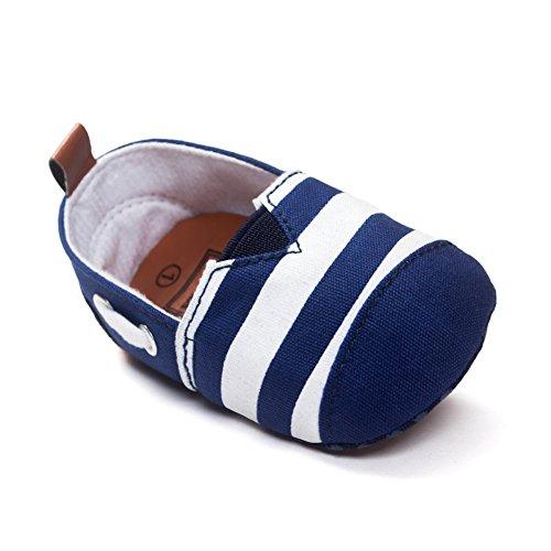 Etosell Bebe Enfant Coton Raye Souple Chaussures Bleu & Blanc