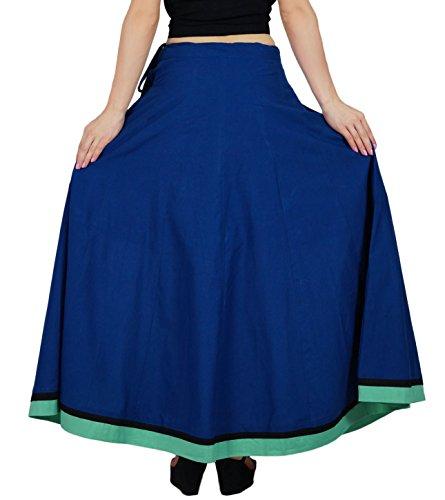 Bimba les à long maxi coton jupe une ligne Flaired jupes avec cordon de serrage Bleu