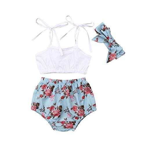 nzessin Sommer Säugling Kleinkind Baby Mädchen Blumen Ärmellos Spielanzug Outfits Kleidung Set Overall Kleider Set mit Stirnband 0-24 Monat ()