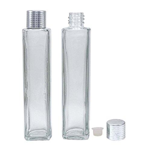 beaucoup de 12 vide verre clair flacon bouteille de parfum rechargeable essentiels bouteilles d'aromathérapie d'huile gros sécurité bouteille de sérum de couvercle en plastique de capuchon argenté 50 ml